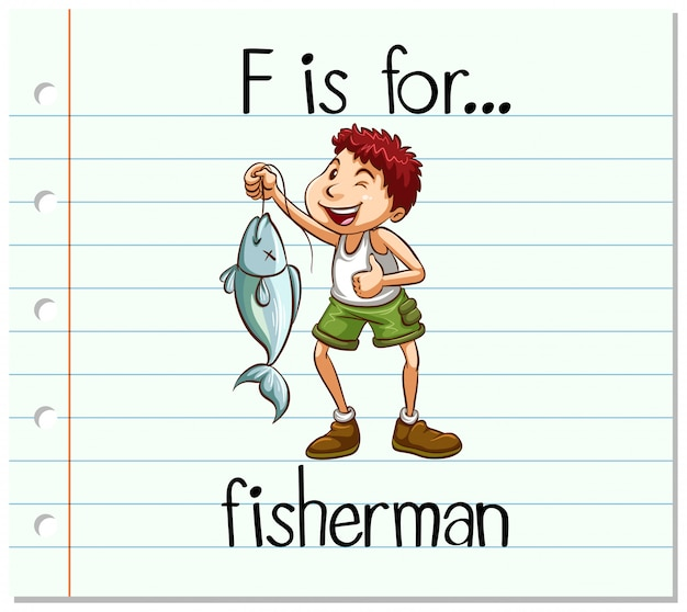Flashcard letter f is voor visser