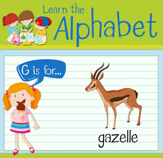 Flashcard letter g is voor gazelle