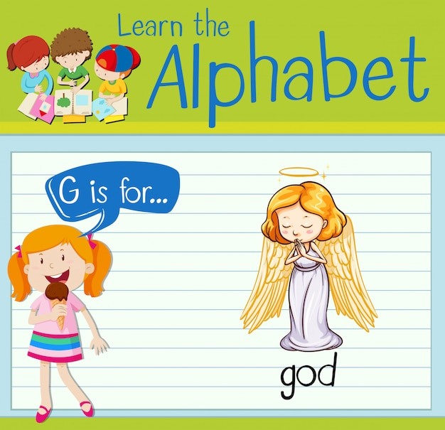 Flashcard letter g is voor god
