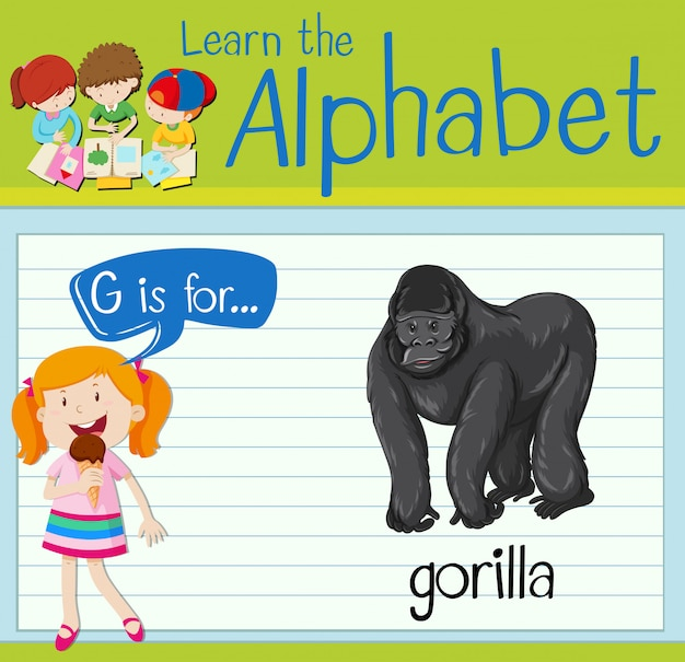 Flashcard letter g is voor gorilla