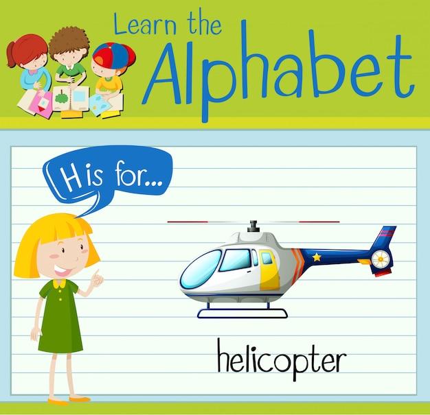 Flashcard letter h is voor helikopters