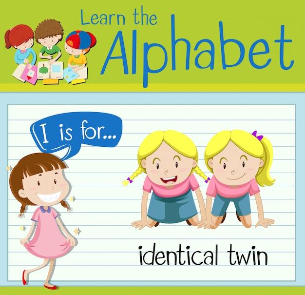 Flashcard letter i is voor identieke tweeling