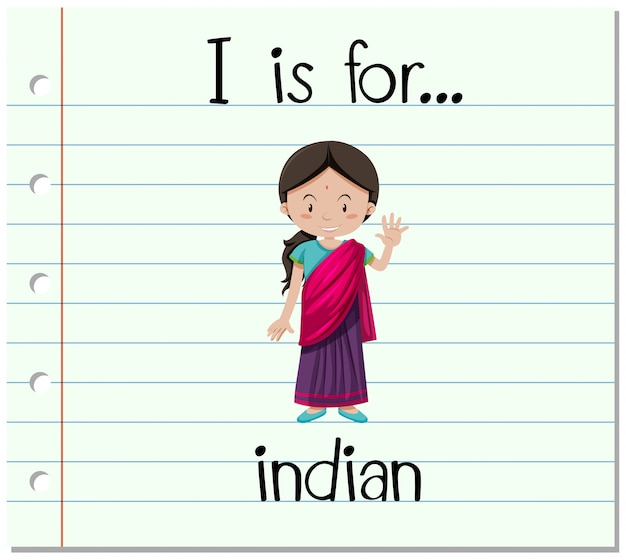 Flashcard letter i is voor indiaas