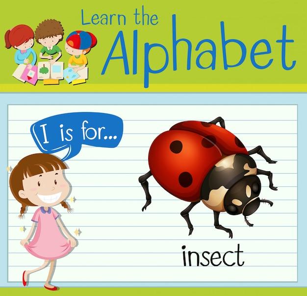 Flashcard letter i is voor insecten