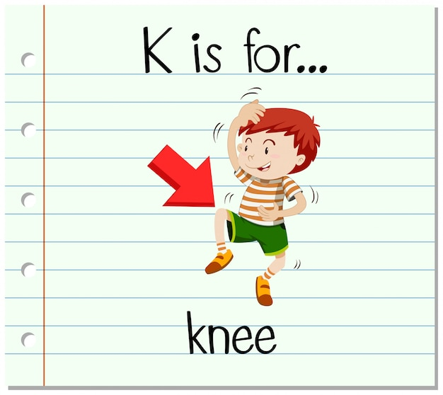 Flashcard letter k is voor knie