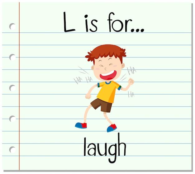 Flashcard letter l is voor de lach