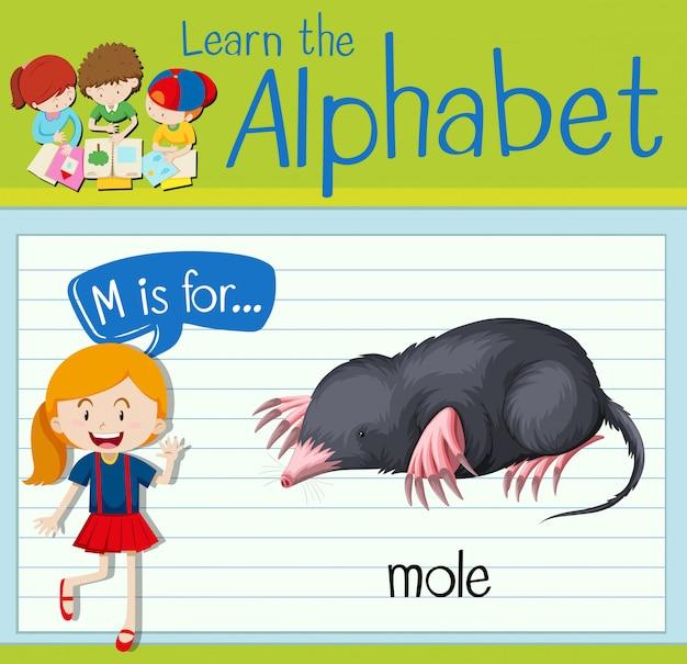 Flashcard letter m is voor mol