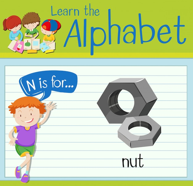 Flashcard letter n is voor moer
