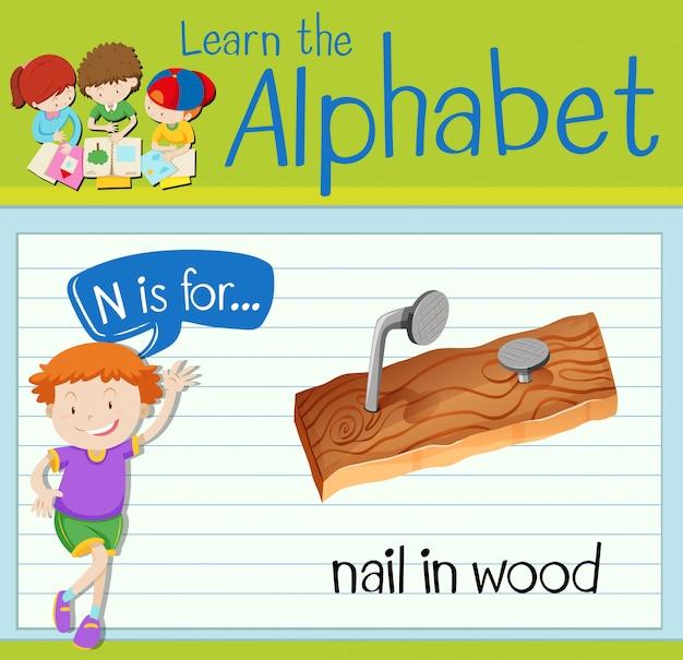Flashcard letter n is voor nagel in hout