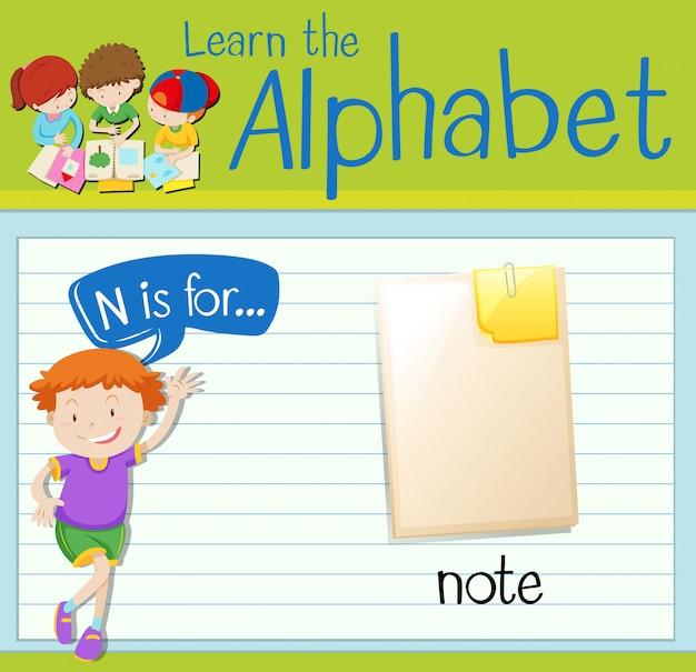 Flashcard letter n is voor notitie