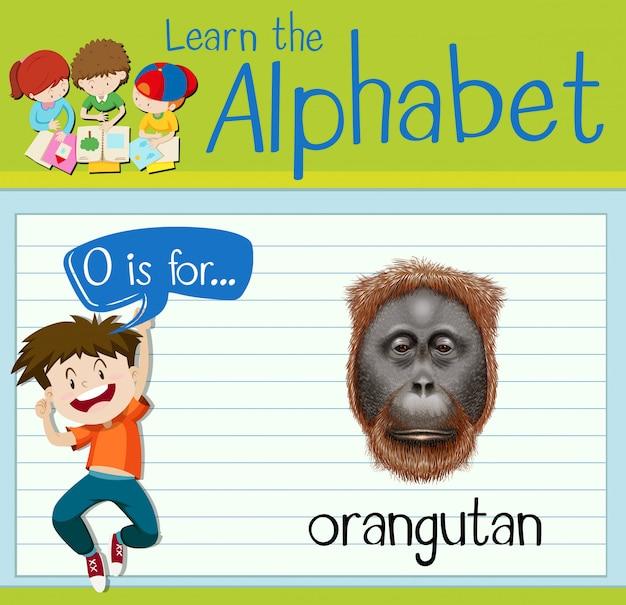 Flashcard-letter o is voor orang-oetan