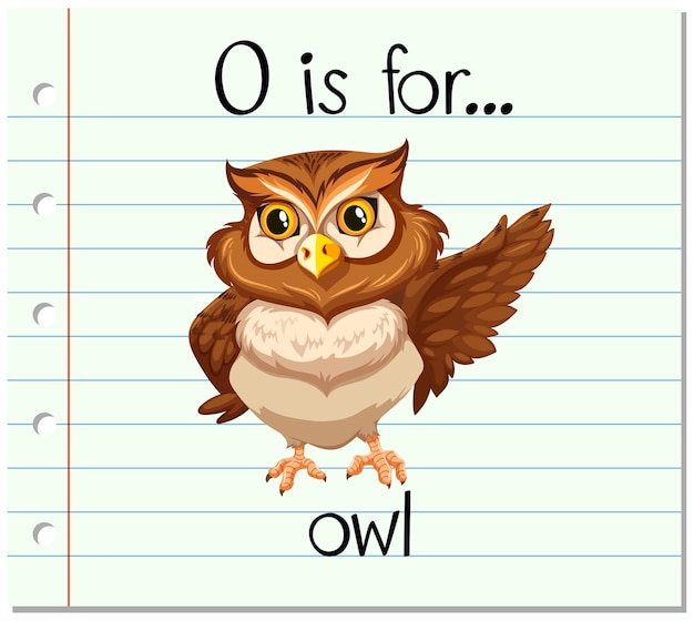 Flashcard letter o is voor uil