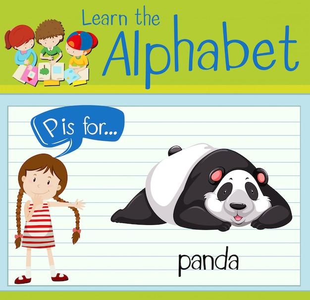 Flashcard letter p is voor panda Premium Vector
