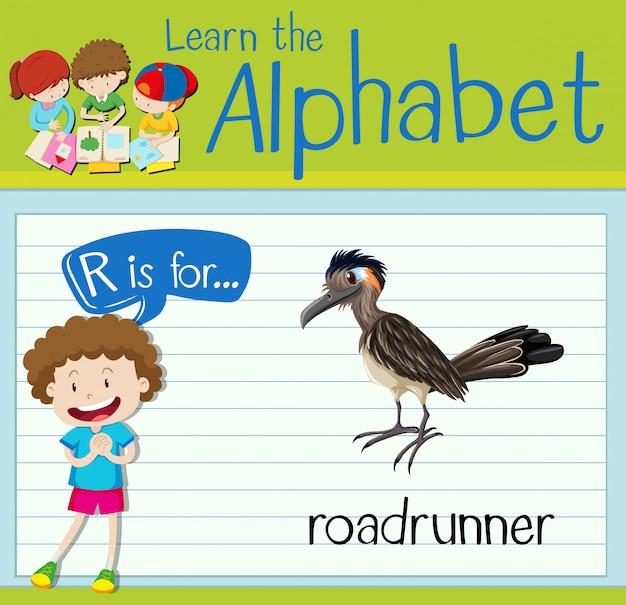 Flashcard letter r is voor roadrunner