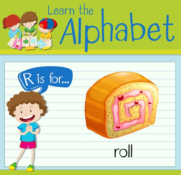 Flashcard letter r is voor roll