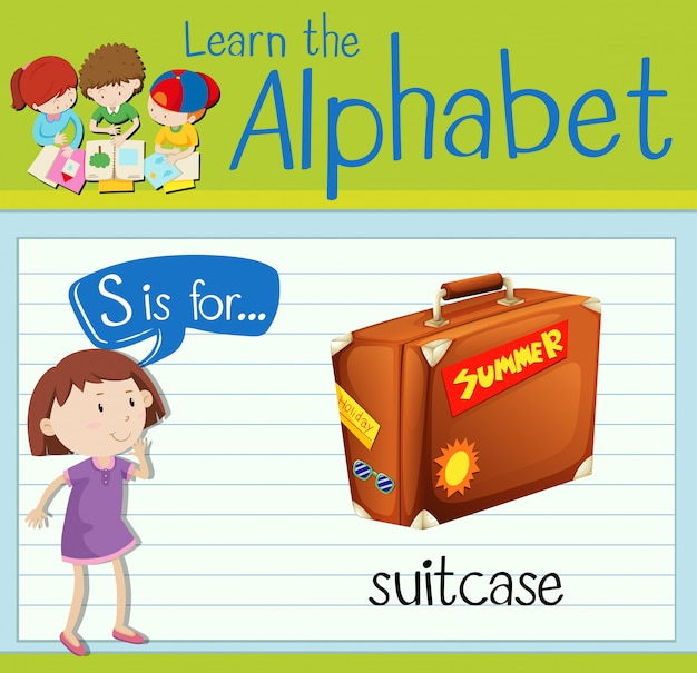 Flashcard letter s is voor koffer