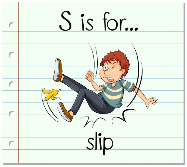Flashcard letter s is voor slip
