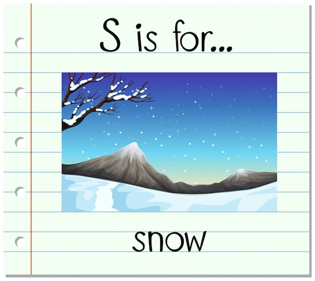 Flashcard letter s is voor sneeuw