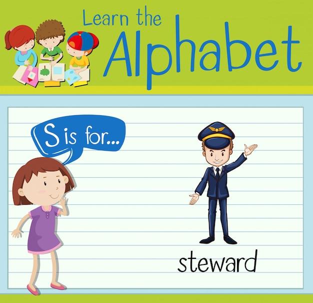 Flashcard letter s is voor steward