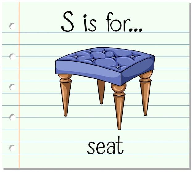 Flashcard letter s is voor stoel