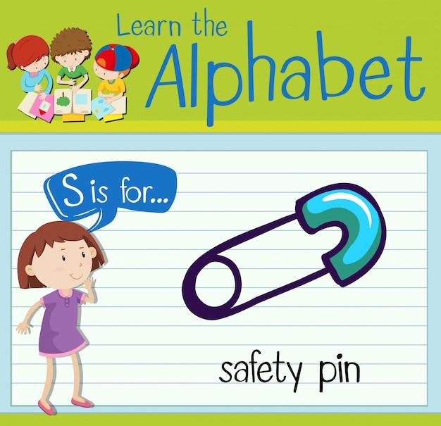 Flashcard letter s is voor veiligheidsspeld
