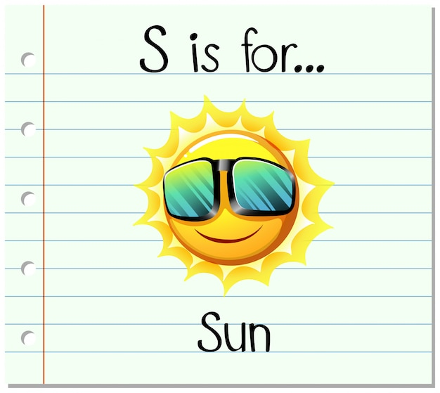 Flashcard letter s is voor zon