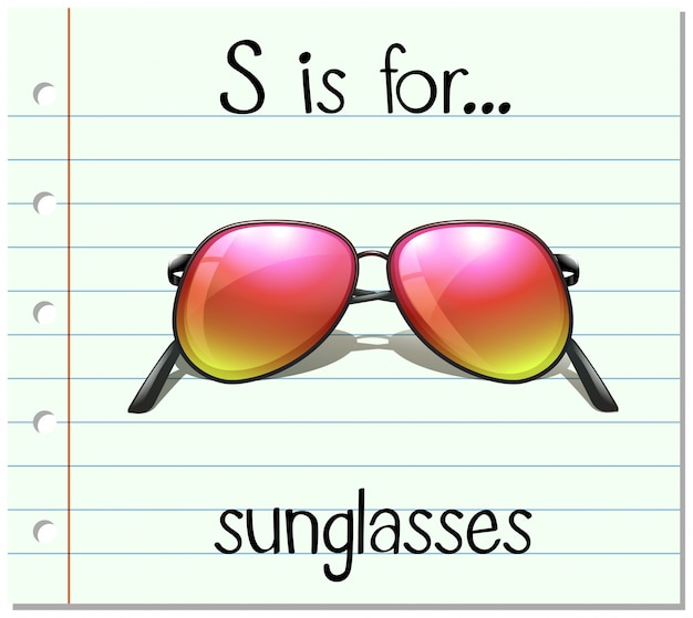 Flashcard letter s is voor zonnebrillen
