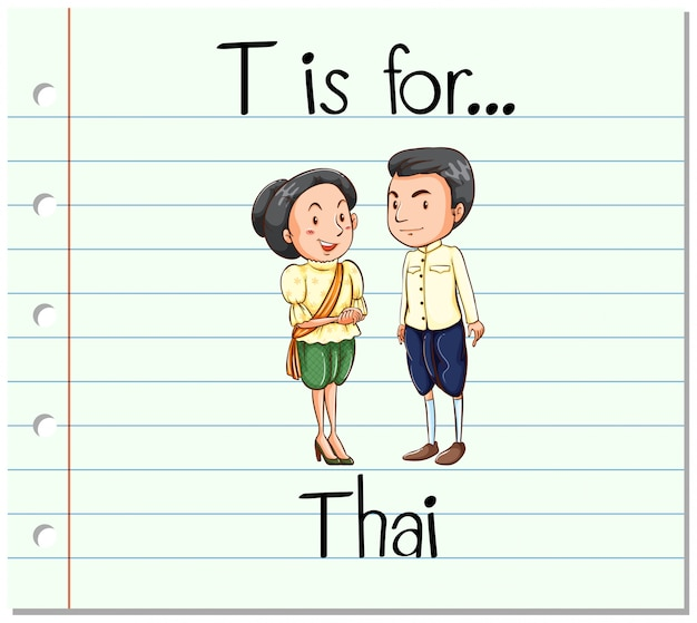 Flashcard letter t is voor thai