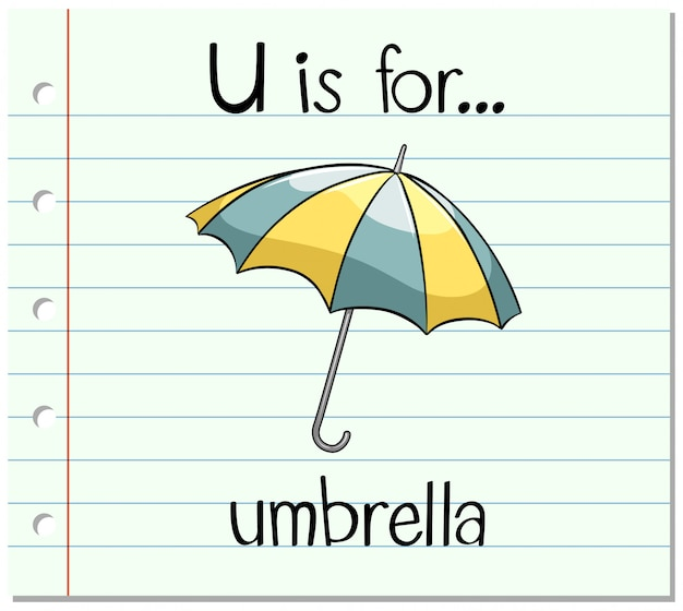Flashcard letter u is voor paraplu