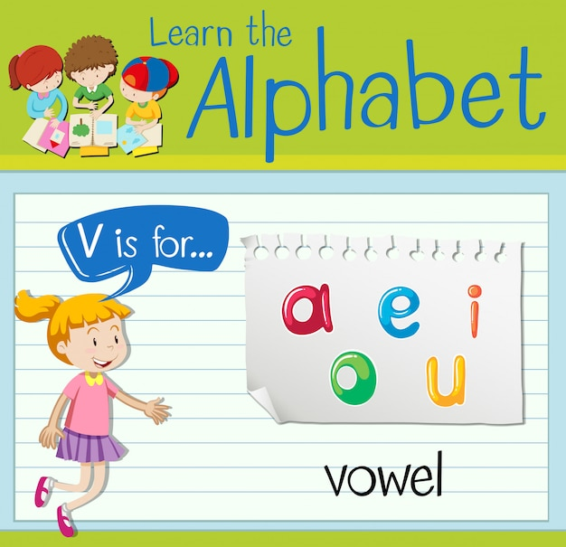 Flashcard letter v is voor klinker