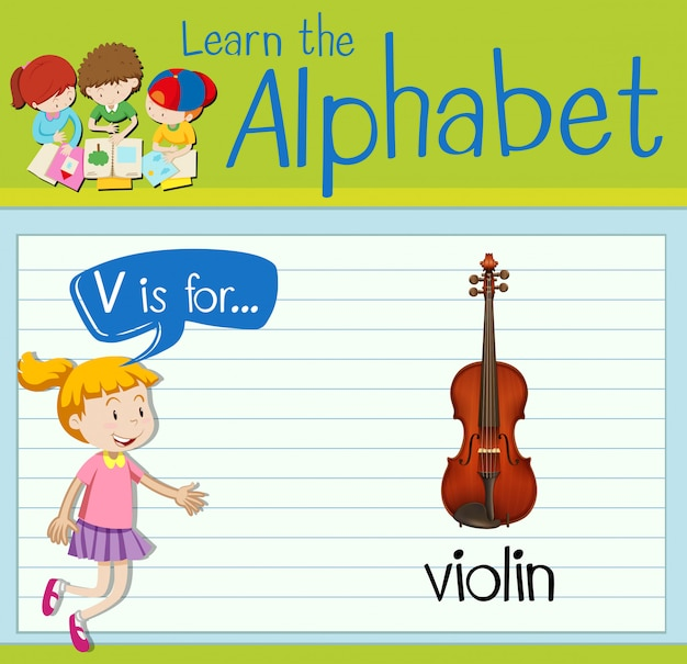 Flashcard letter v is voor viool
