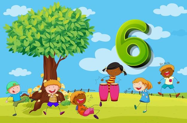 Flashcard nummer 6 met zes kinderen in het park