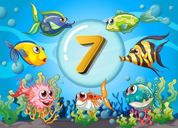 Flashcard nummer zeven met 7 vissen onder water