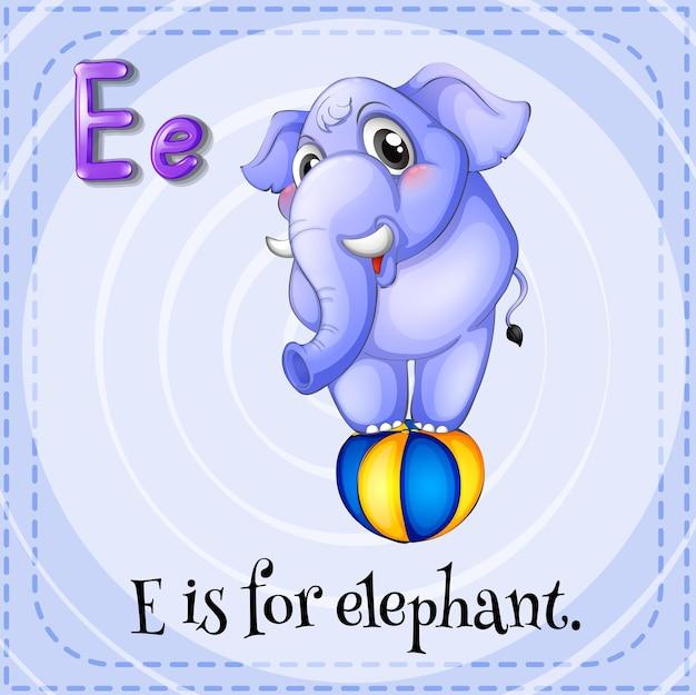 Flashcard van e is voor olifant