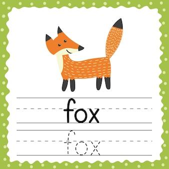 Flashcard voor woorden traceren - fox. fonetische woorden in het engels. handschrift oefenen. flash-kaart met een eenvoudig woord van drie letters. activiteitenpagina voor kinderen. illustratie