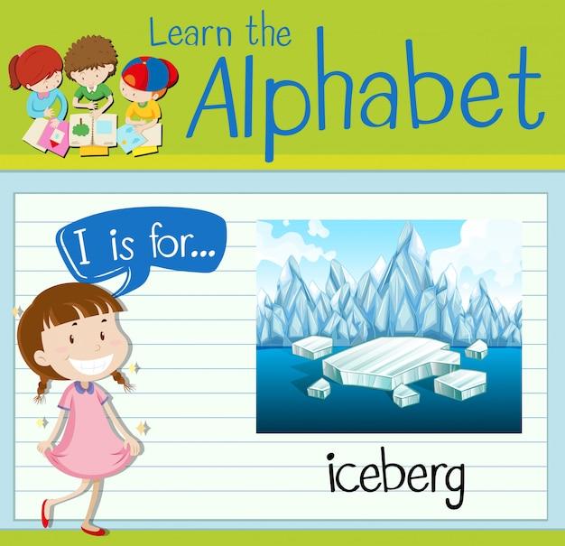 Flashcardbrief i is voor ijsberg