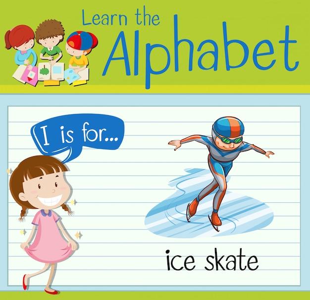 Flashcardbrief i is voor schaats