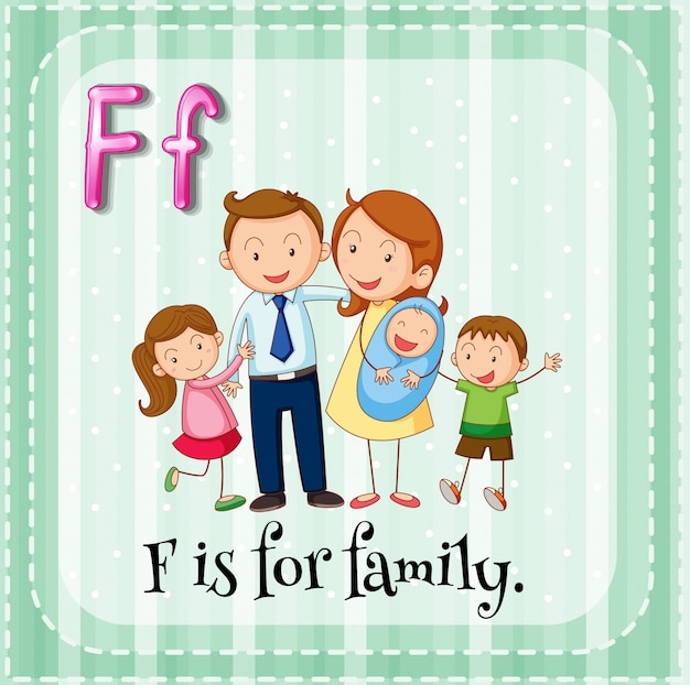 Flashcardletter f is voor familie