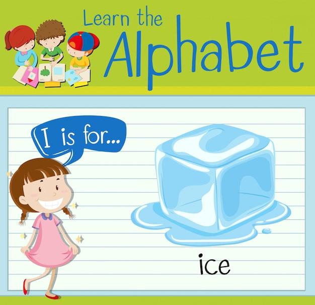 Flashcardletter i is voor ijs