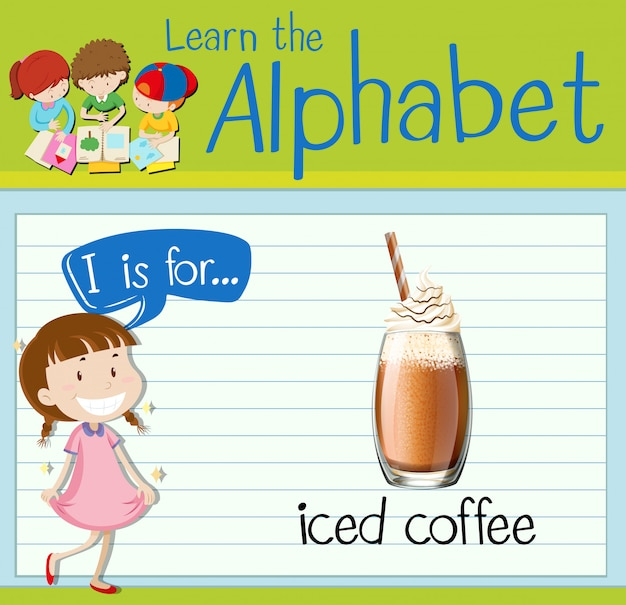 Flashcardletter i is voor ijskoffie
