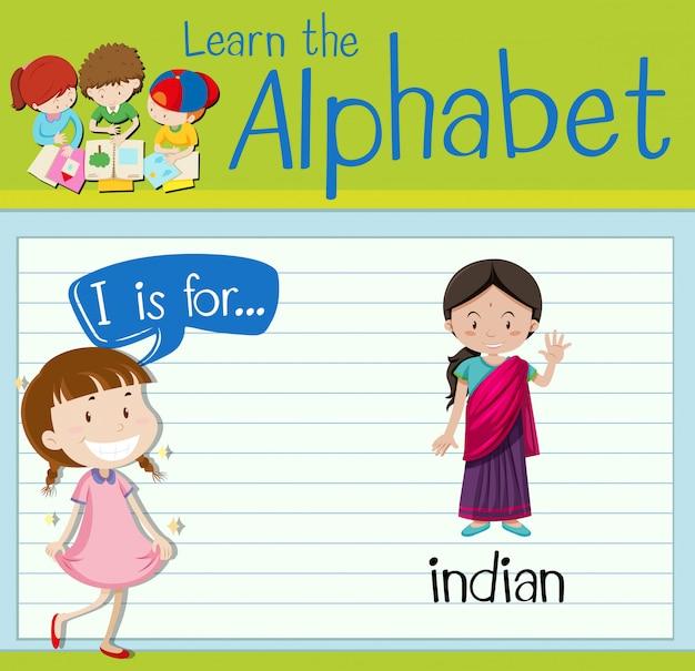 Flashcardletter i is voor indiaan