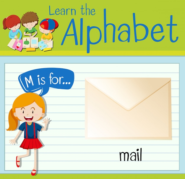 Flashcardletter m is voor e-mail