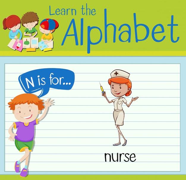 Flashcardletter n is voor verpleegkundige