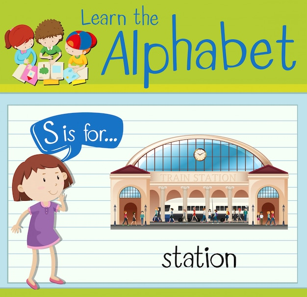 Flashcardletter s is voor station