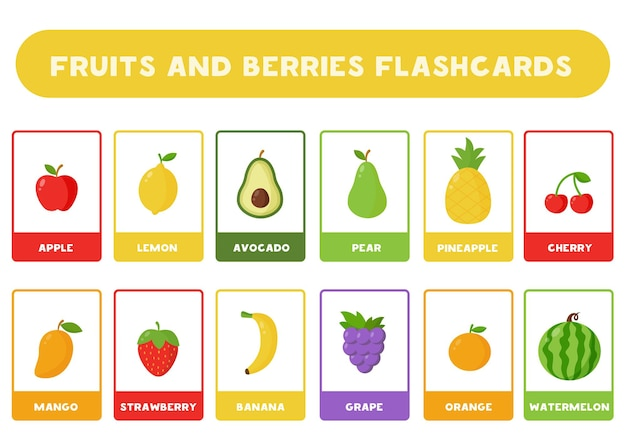 Flashcards voor kinderen met schattige cartoonvruchten en bessen. educatieve kaarten.