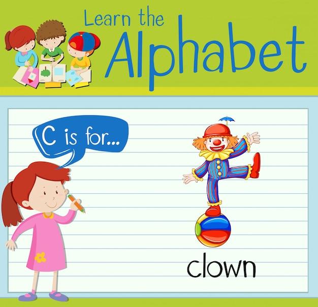 Flashkaart alfabet c is voor clown