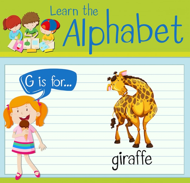 Flashkaart alfabet g is voor giraffe