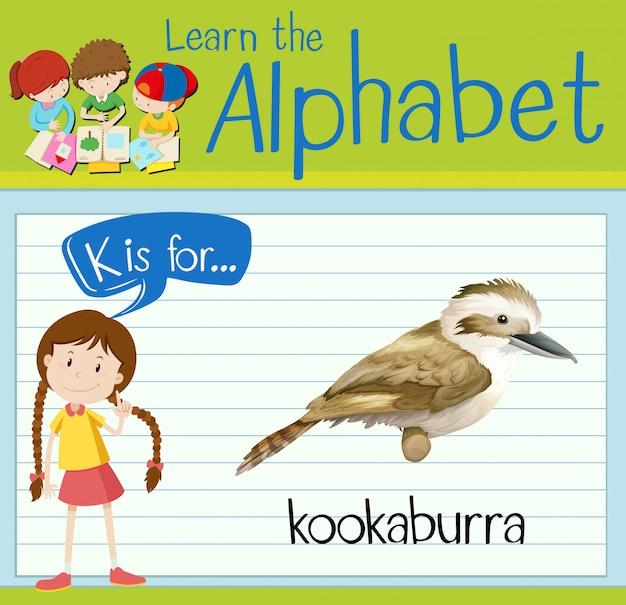 Flashkaart alfabet k is voor kookaburra