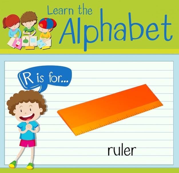 Flashkaart alfabet r is voor liniaal