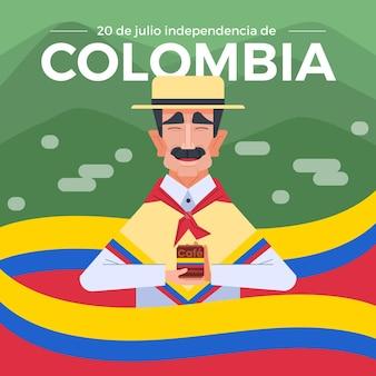 Flat 20 de julio - independencia de colombia illustratie